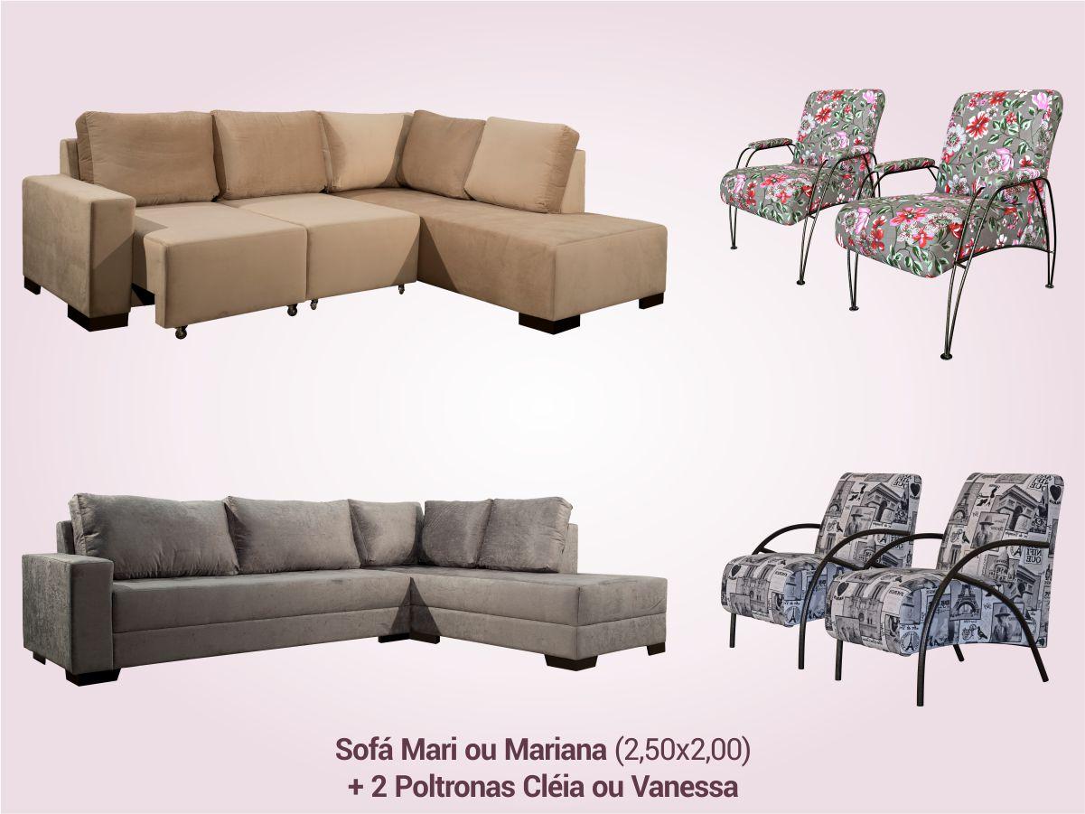 COMBO 2 | Sofá Canto com Chaise + 2 Poltronas