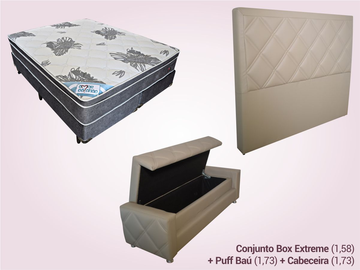 COMBO 9   Conjunto Box Queen + Puff Baú + Cabeceira