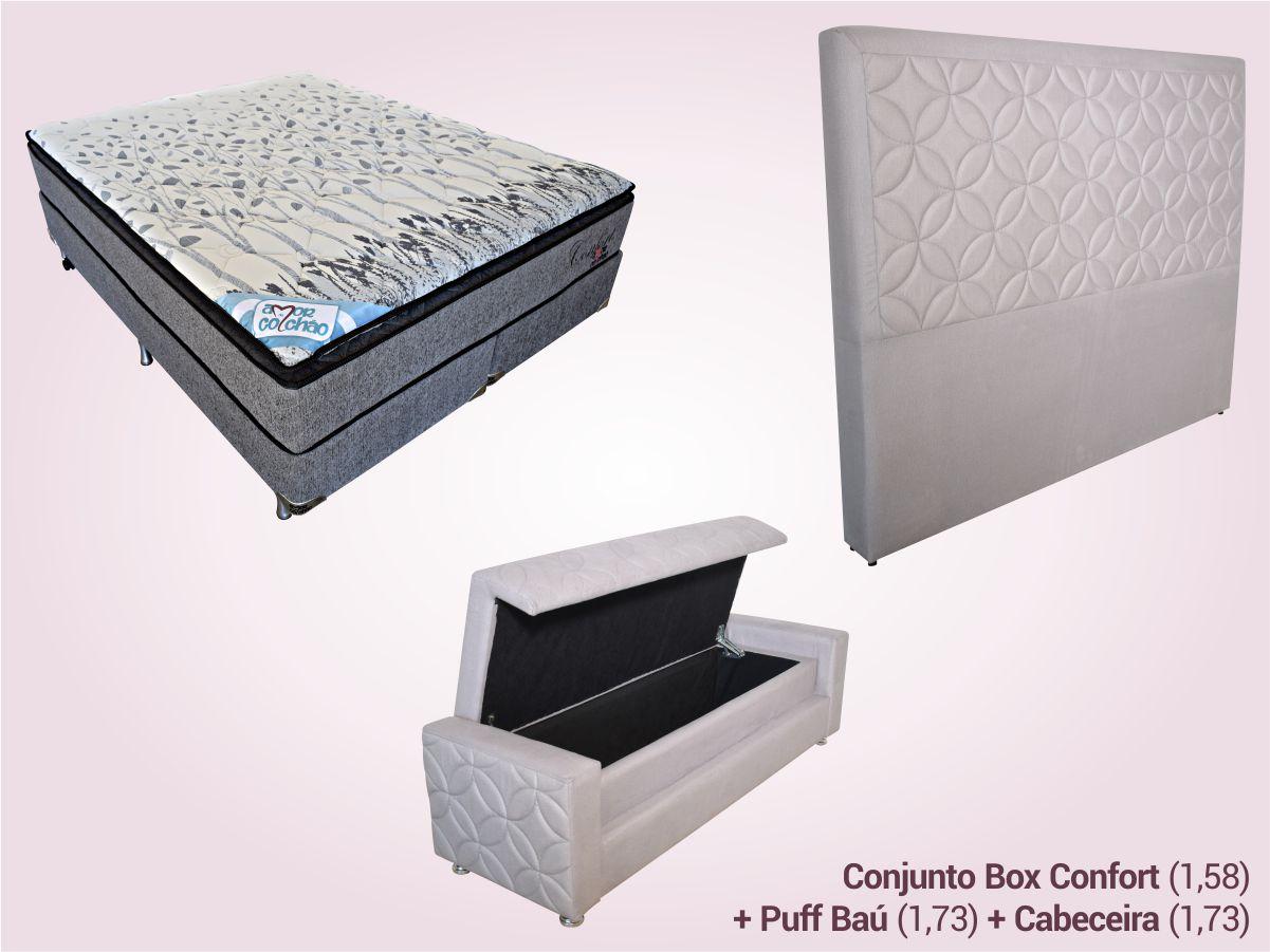 COMBO 10   Conjunto Box Queen + Puff Baú + Cabeceira