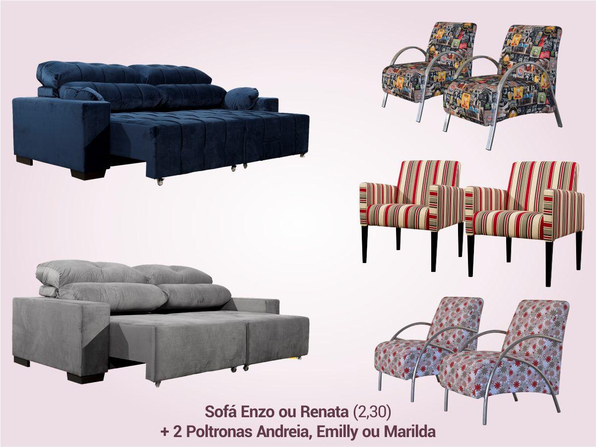 COMBO 4 | Sofá Retrátil/Reclinável + 2 Poltronas